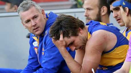 Andrew Gaff reacts after his punch. Picture: Getty Images