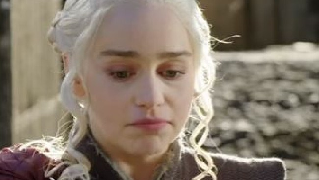 Emilia Clarke, aka Daenerys, in an uncanny impression of my face when I realised the final season wasn't out until mid-2019.