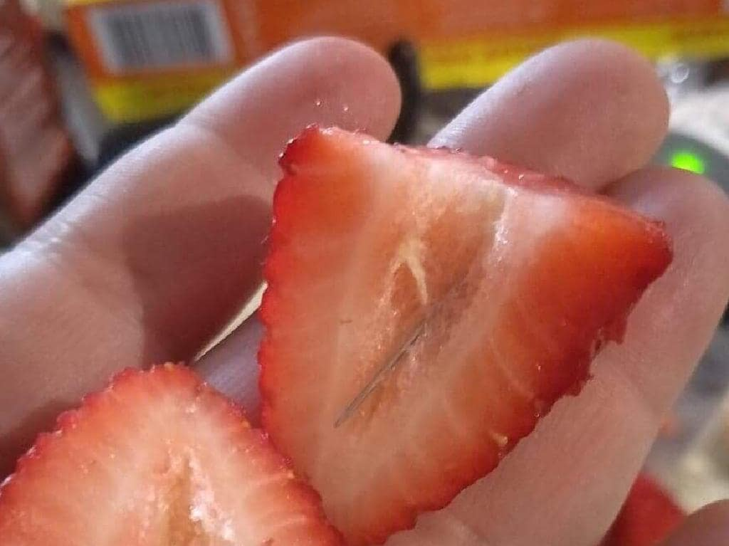 The strawberry that was bought from Adelaide Fresh Fruiterers shop at Main South Road, Morphett Vale and cut open by the mother of a boy. Picture: Nine News