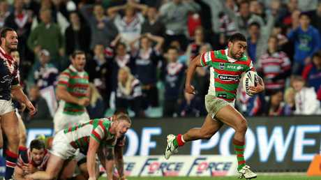 South Sydney star Nathan Merritt helps set up the winning try during the famous 2012 game against Roosters.