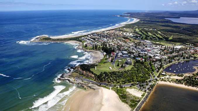 POSTCARD PERFECT: Aerial of Yamba with Angourie in the distance to the south.