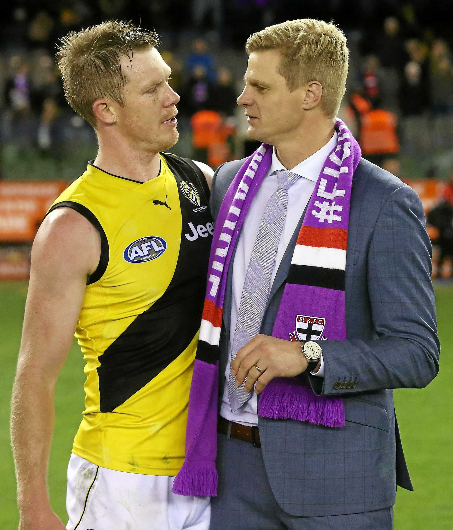 Nick and Jack Riewoldt meet following the Tigers' clash with the Saints earlier this season - Maddie's Match, in honour of Nick's sister who died from a from a rare bone marrow disease in 2015. Pic: Michael Klein
