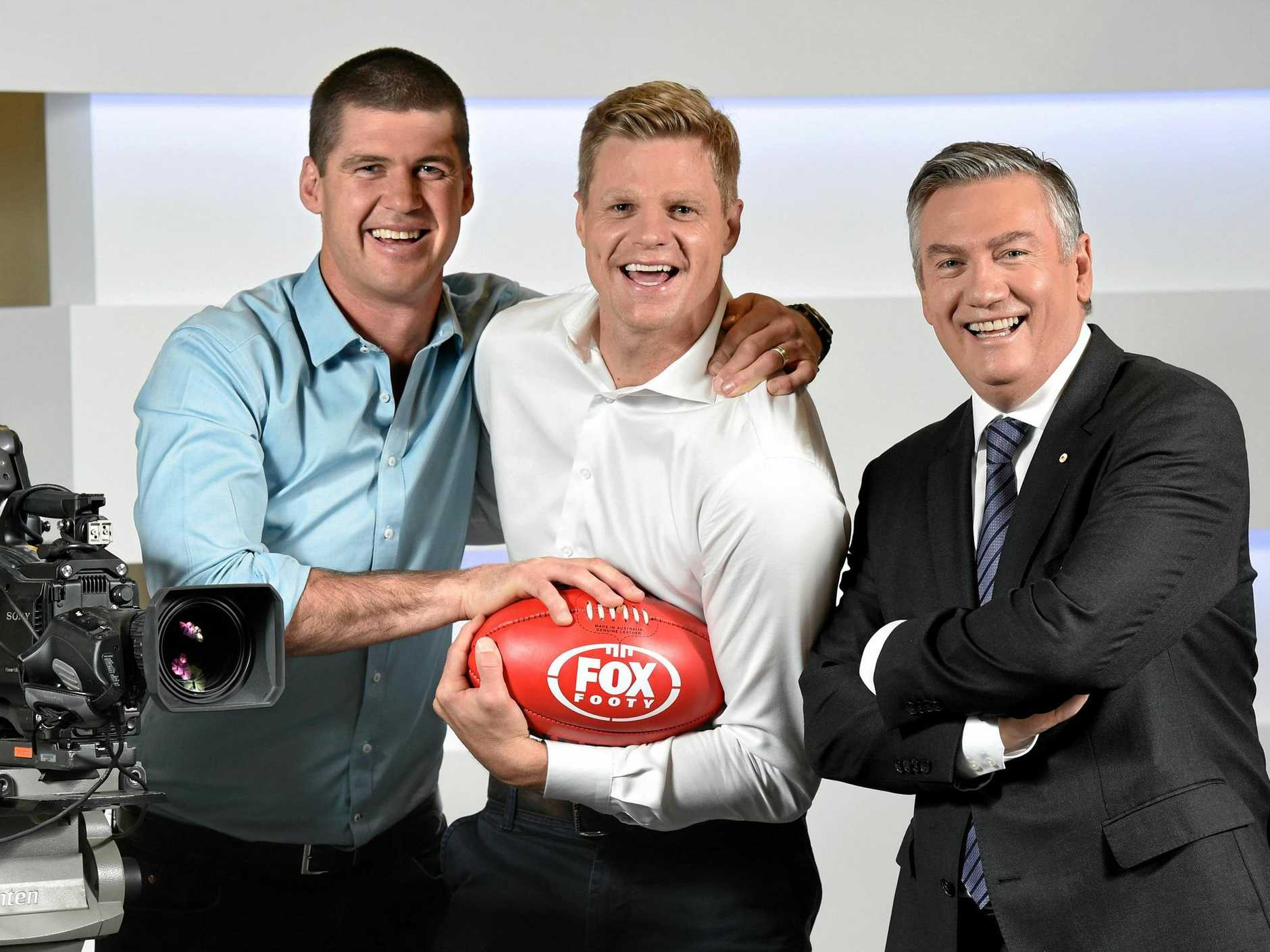 Jonathan Brown with former St Kilda captain Nick Riewoldt and Eddie Mcguire. Nick is joining the Fox Footy team. Picture: Kylie Else