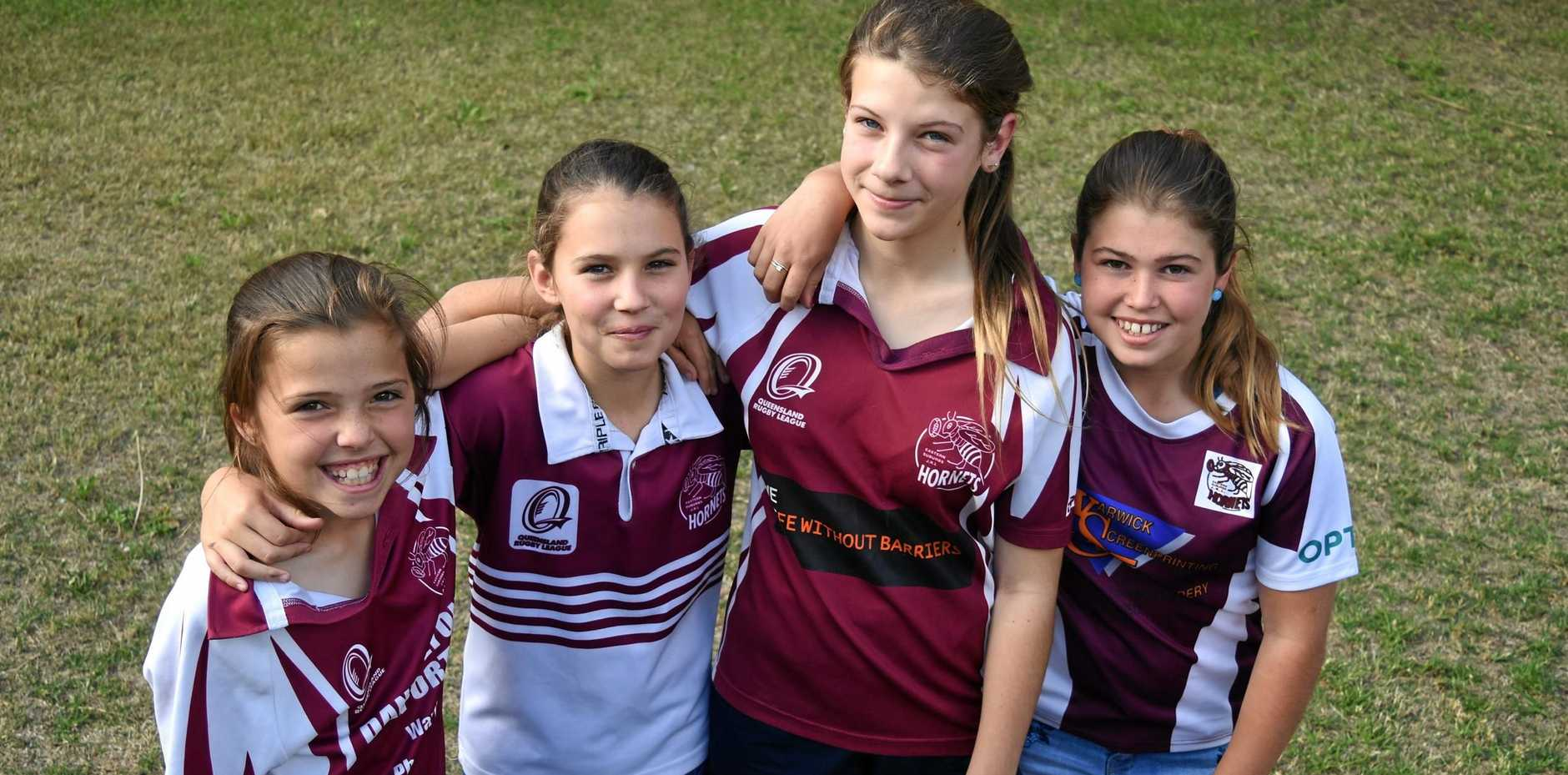 LEAGUE FANATICS: Laila Riley, Mia Ammenhauser, Madisyn Kettle and Meah Riley are all keen to play rugby league.