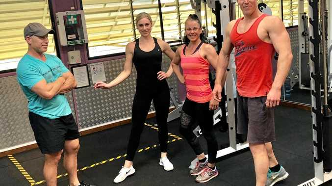 HEAVY LIFTING: Coach Jason Rewita with Amanda Munroe and Luke and Lacreesha Trevithick who will compete in the ICN Tropix bodybuilding championships in Townsville later this month.