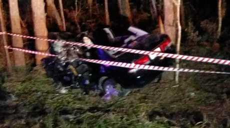 SERIOUS SMASH: The scene of the crash last Wednesday night at Beerburrum.