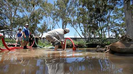 Volunteers getting pumps in place and running at North Rockhampton Bowls Club. Photo Allan Reinikka / The Morning Bulletin             ROK010111flood-a3