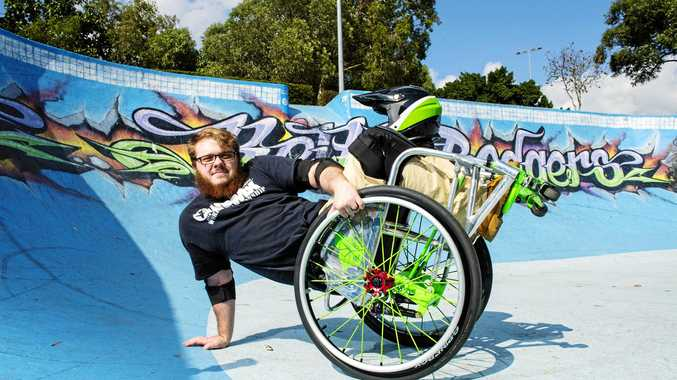 ON A ROLL: Southern Cross University student Timothy Lachlan, 21, is inspiring others to embrace the action sport of wheelchair motocross.