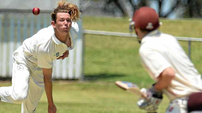 Ipswich Hornets' Harry Wood sends one down against Toombul during their QCA premier grade cricket match played at Baxter Oval on Saturday.