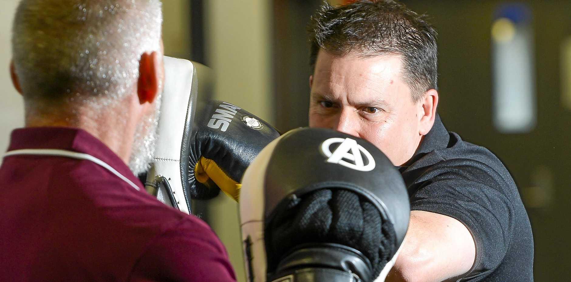 POLLIE PUNCH: Gladstone Mayor Matt Burnett is training hard in the lead up to his bout against Member for Gladstone Glenn Butcher.