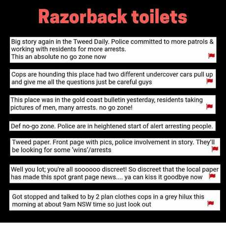 Comments from the cruising website Squirt warning others about using the Razorback hotspot.