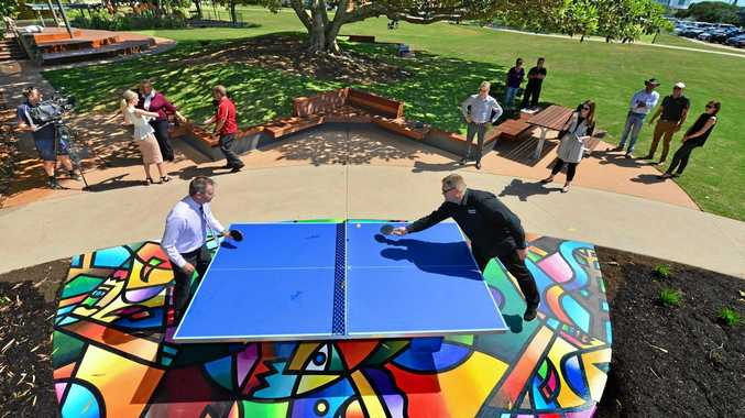 KING OF PONG: Cr Steve Robinson and Ian Williams try out the new facilities in the refurbished Jack Morgan Park in Coolum.