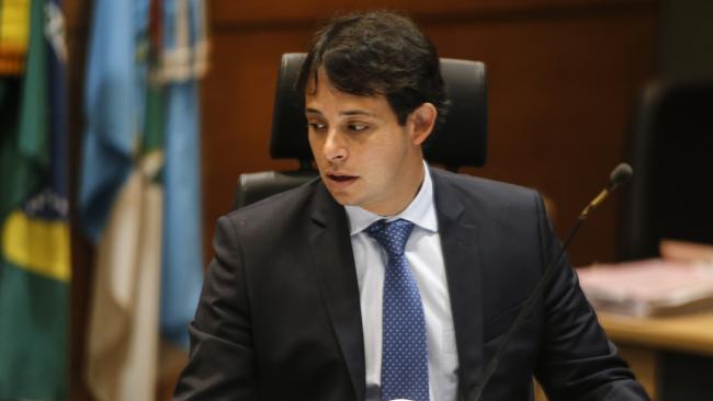 Brazilian judge Daniel Werneck Cotta at a pre-trial hearing of Mario Marcelo Ferreira dos Santos Santoro, at a court in Rio de Janeiro, Brazil. Picture: News Corp Australia