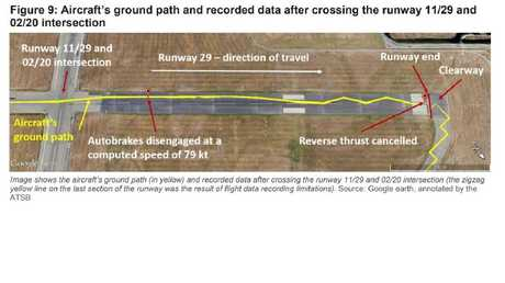 The plane's ground path (yellow line) as it approached the runway end. Picture: ATSB