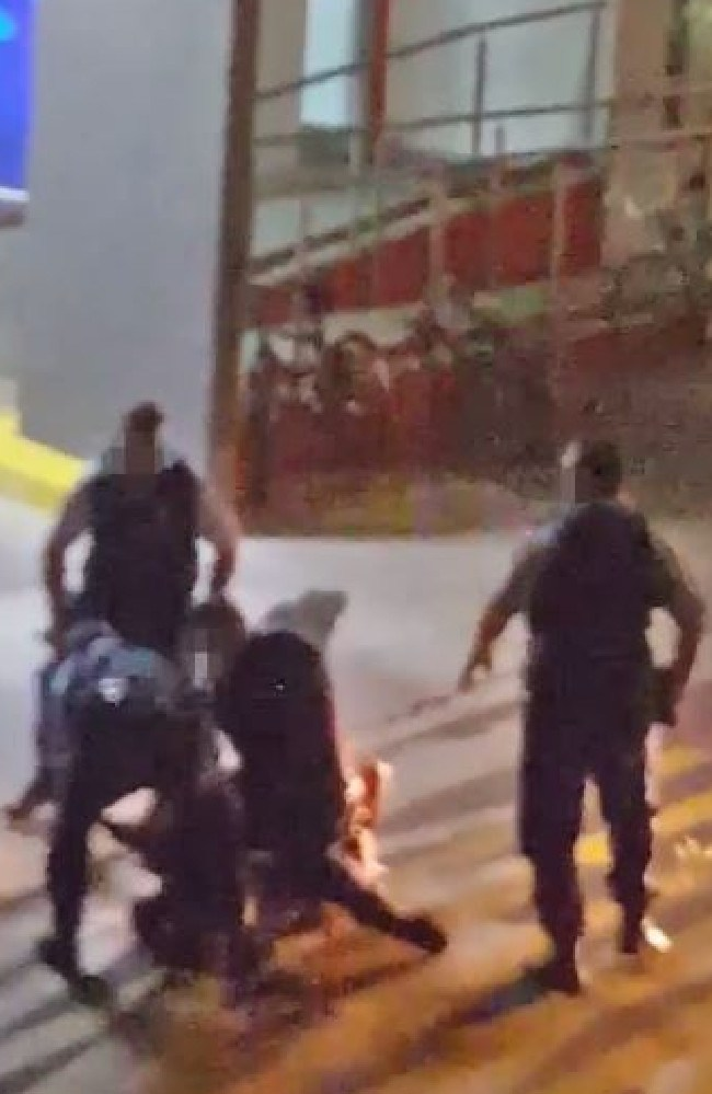 None of the four officers involved in the incident were identified during the hearing. Picture: Video still