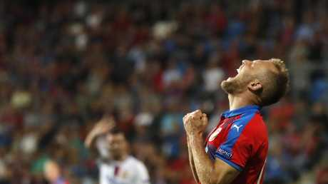 Plzen midfielder Daniel Kolar reacts after missing a chance to score. Picture: AP