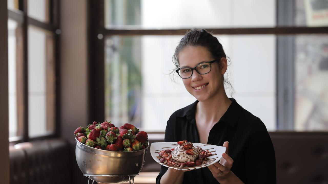 Max Brenner at Newstead is still selling strawberries. Picture: Mark Cranitch