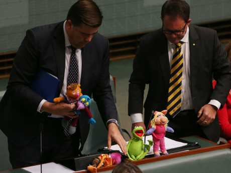 Luke Gosling and Milton Dick are ejected from Question Time in the House of Representatives chamber, Parliament House in Canberra. Picture Kym Smith