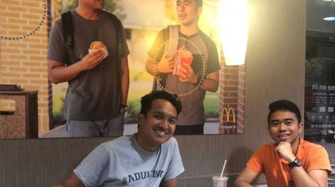 The two men placed the picture to promote diversity at the fast-food chain. Picture: Twitter/@Jevholution Twitter