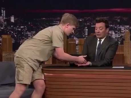 Jimmy Fallon reacting to Robert Irwin's tarantula.
