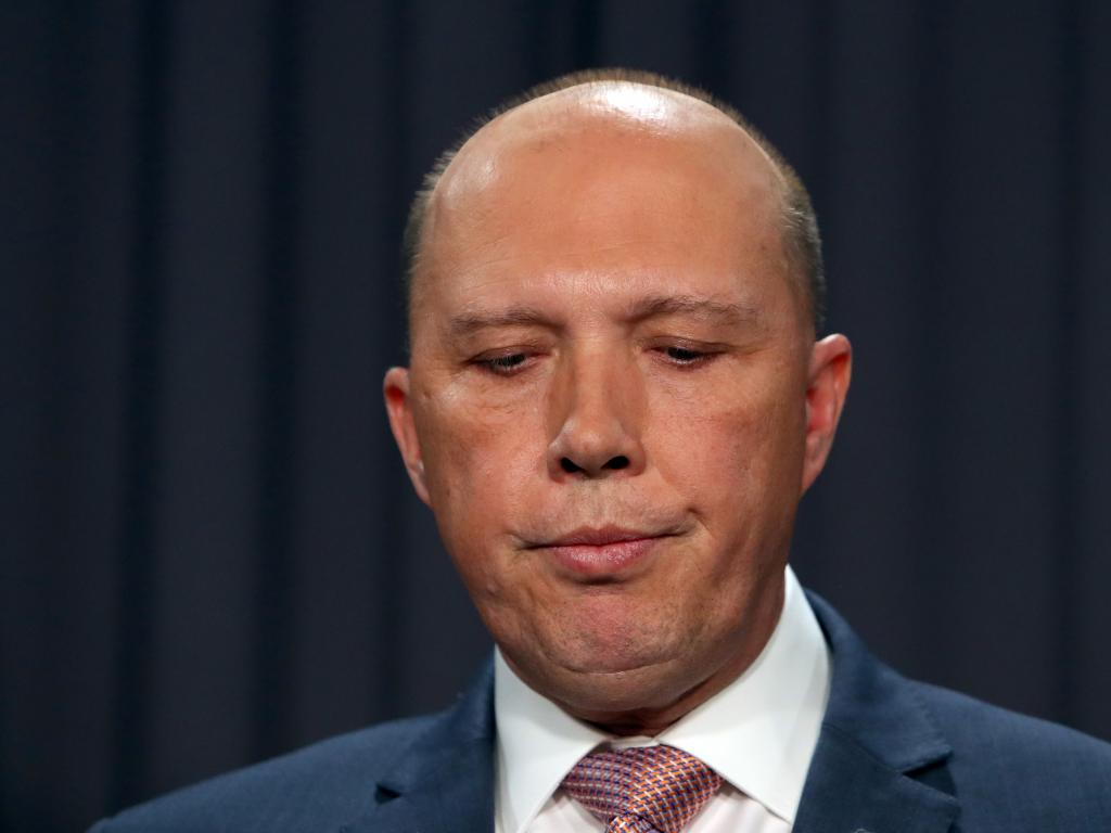 Minister for Home Affairs Peter Dutton holding a press conference at Parliament House in Canberra. Picture: Kym Smith