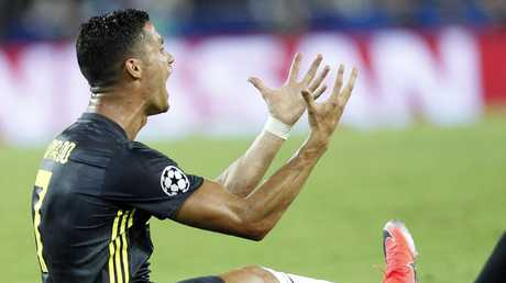 Juventus forward Cristiano Ronaldo reacts after receiving a red card. Picture: AP