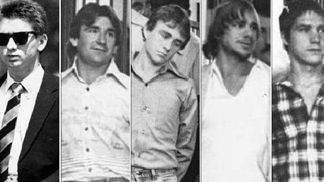 Anita Cobby's killers, from left, John Travers, Michael Murphy, Leslie Murphy, Gary Murphy and Michael Murdoch.