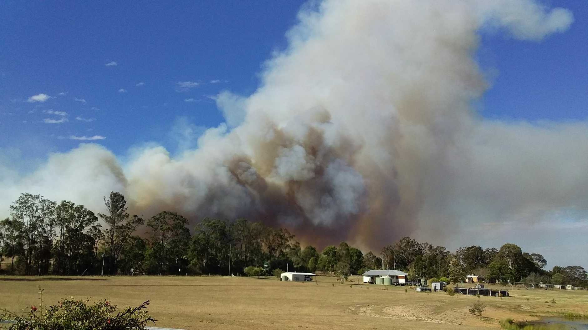 The bush fire was only 500 metres away from the corner of Smith Rd and Kahler Rd near Michelle Binstead's place, as the fire travelled through Booie and Glan Devon oon Thursday September 20.