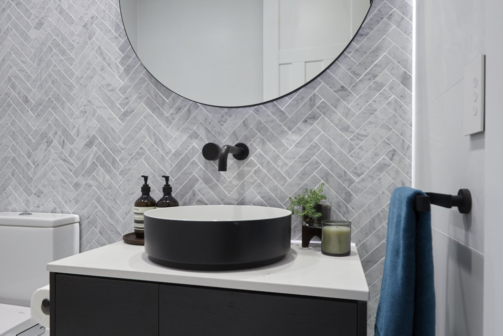 *WARNING EMBARGOED until 9pm Sunday September 23* The Block judges loved Kerrie and Spence's choice of tile in their winning powder room.