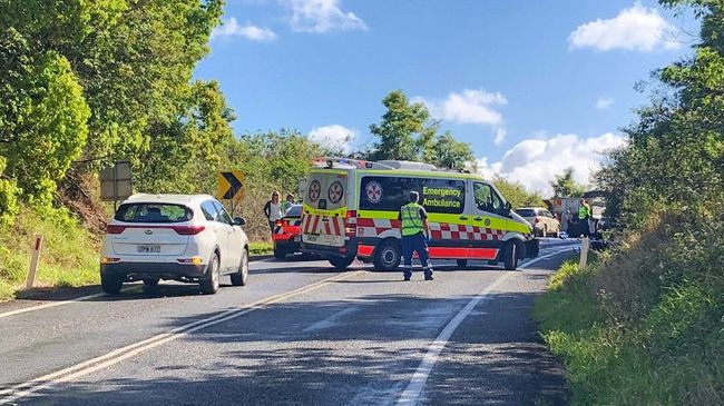 Motorbike rider dies after horrific three-vehicle crash