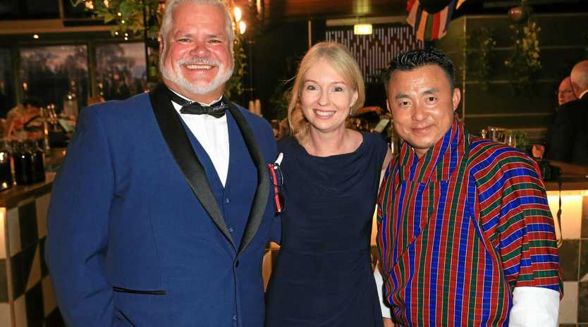 MC John Morrall, Heather McNeice and special guest Tshering Norbu. from Bhutan.