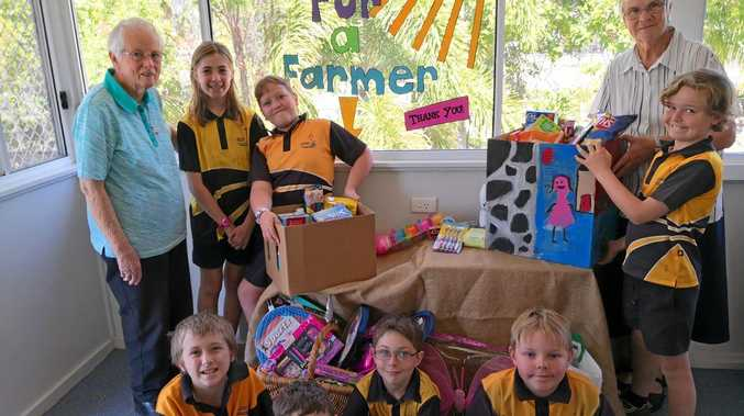GIVING BACK: Students at Bluff State School have been collecting items to donate to families struggling with the drought.