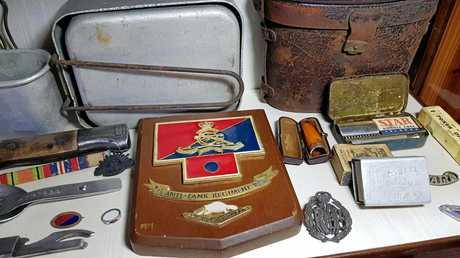 KEEPSAKES: The war relics of bombardier and 'Rat of Tobruk' John 'Dick' Johnson.