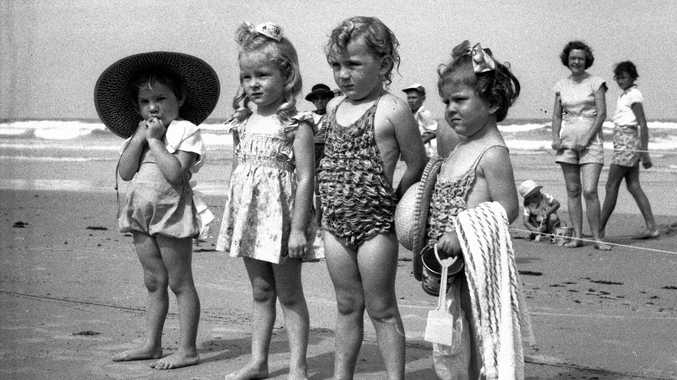 Children participate in the Belle of the Beach, Coolum Beach, in 1953.