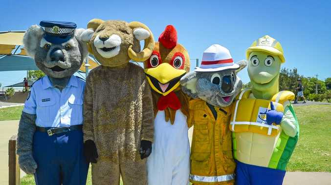 Col Capra and friends - Constable Clancy,The Calliope Roosters Rooster, Blazer Bear and Curtis the Turtle at Gladstone PCYC's Emergency Services Open Day.