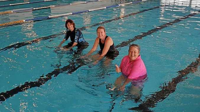 AQUA BIKES: Linda Smith, Louise McConnell and Jackie Martin workout at Nanango pool.