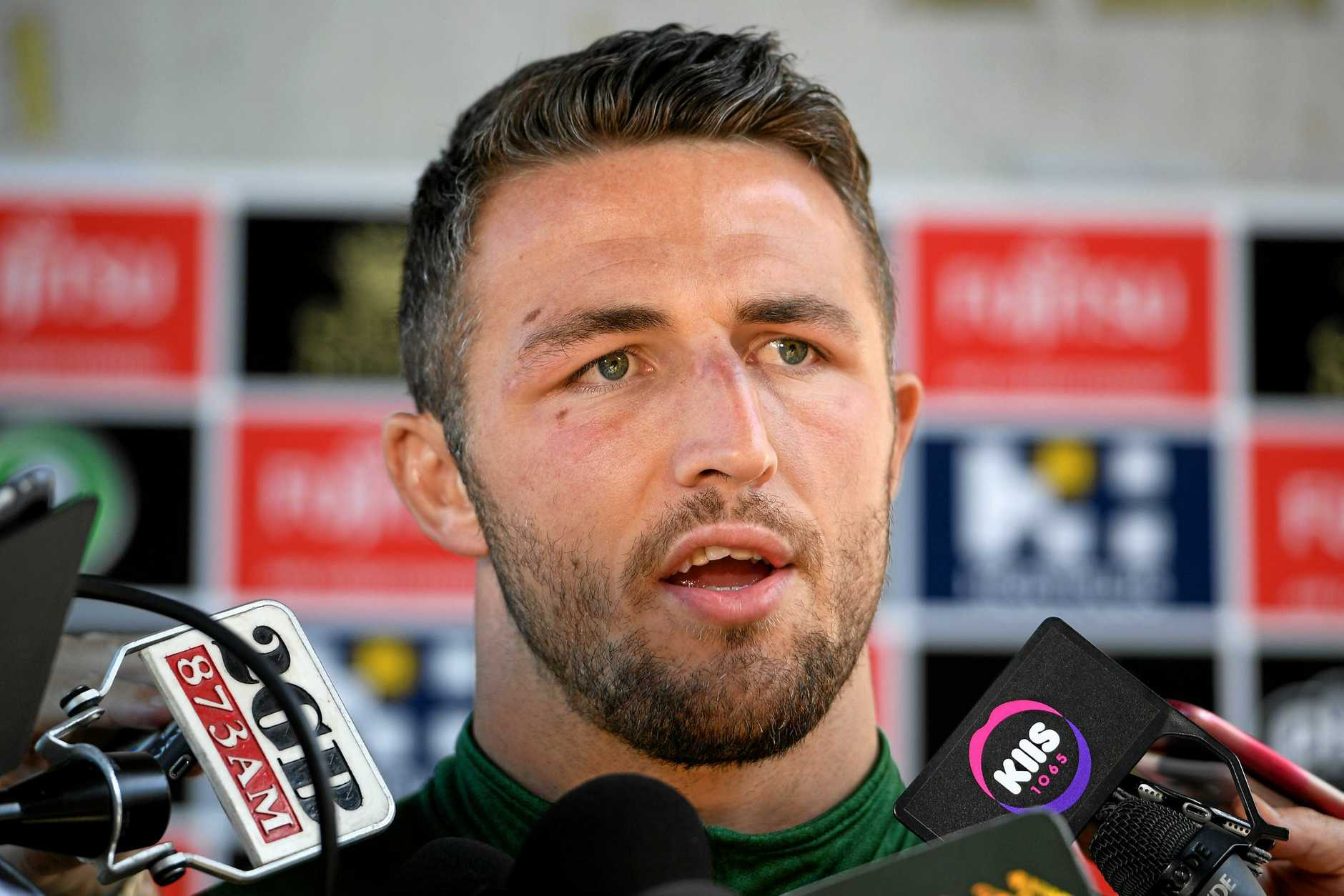 South Sydney Rabbitohs player Sam Burgess addresses media at Redfern Oval in Sydney, Tuesday, September 18, 2018. (AAP Image/Dan Himbrechts) NO ARCHIVING