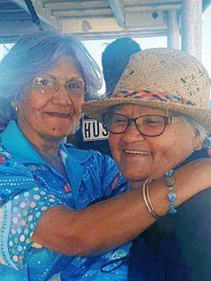 Darlutta and Auntie Sue on the way to GKI for the official ceremony of the Leeke's Creek Fish Habitat (Balban Dara Guya) 2017