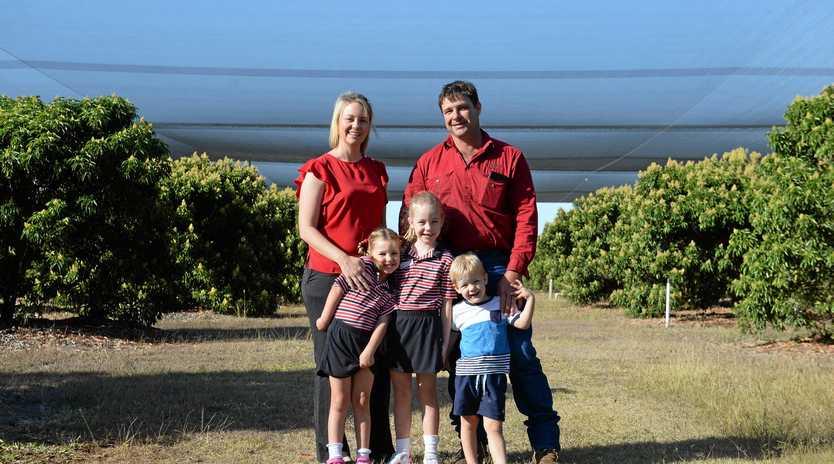 FAMILY AFFAIR: Lychee Farmers Krystal and Paul Caton with their children Sienna, Aria and Wyatt.