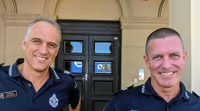 Sergeant Nigel Dalton and Senior Constable Steve Smith of Mackay police's Crime Prevention Unit.