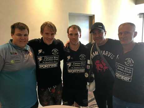 Grafton brothers (from left) Brenden, Zac and Ryan Cotten with Australian Boxing Hall of Fame member Jeff Fenech and Grafton boxing coach Dean Cribb.