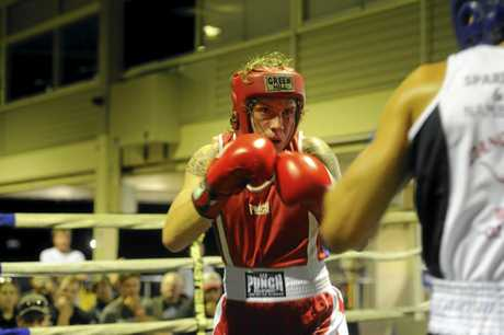 North Coast Light Heavyweight champion Zac Cotten during the Grafton Fight Night at the Clarence River Jockey Club.