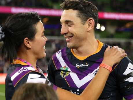 Billy Slater enjoyed his moment with family after the win.