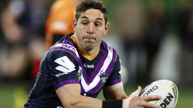 Billy Slater of the Storm warms up before the Round 23 NRL match between the Melbourne Storm and the Parramatta Eels