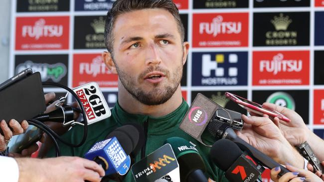 Sam Burgess speaks to the press on Tuesday. Picture: Mark Kolbe/Getty Images