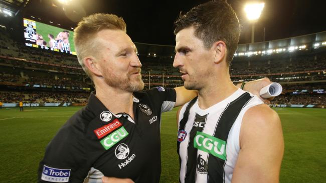 Collingwood coach Nathan Buckley hugs skipper Scott Pendlebury after Collingwood's win. Picture: Michael Klein