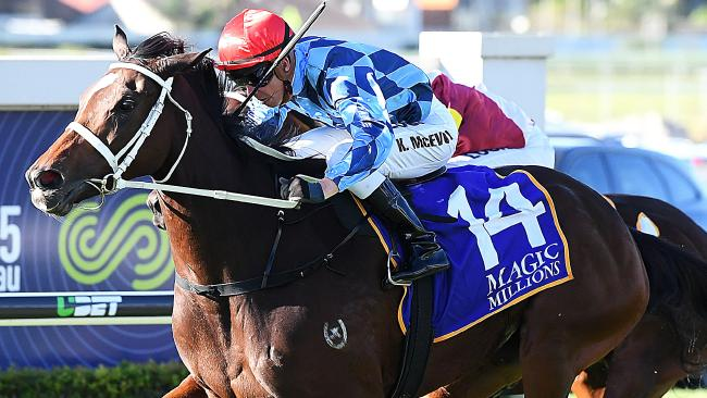 Kerrin McEvoy rides Youngstar to victory in the Magic Millions The Roses at Doomben on May 12. Picture: Albert Perez/AAP