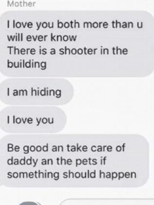 Alexi Scharmann's mum texted this during a shooting at her workplace in Aberdeen Maryland. Picture: Supplied