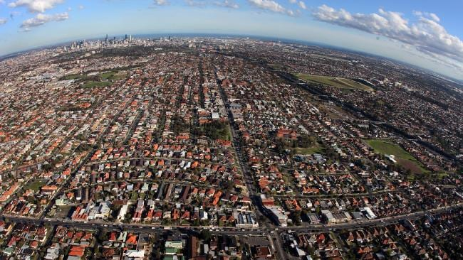 The sprawl of suburbia looking out from Essendon back towards the Melbourne CBD.