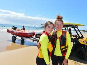 Karina Trotter and Georgia Lee on Mooloolaba Beach